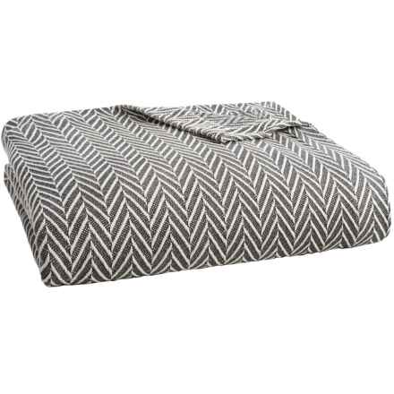 Peacock Alley Veneto Collection Blanket - Queen, Egyptian Cotton in Graphite - Overstock