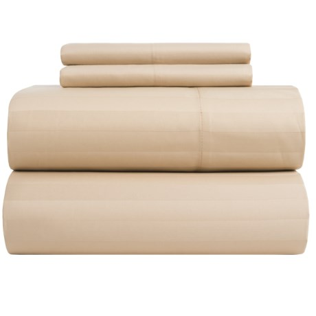 Peacock Alley Wide-Stripe Fitted Sheet - Twin, Egyptian Cotton, 400 TC in Linen