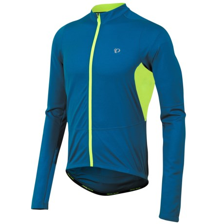 Pearl Izumi Attack Cycling Jersey - UPF 50+, Long Sleeve (For Men) in Mykonos Blue/Screaming Yellow