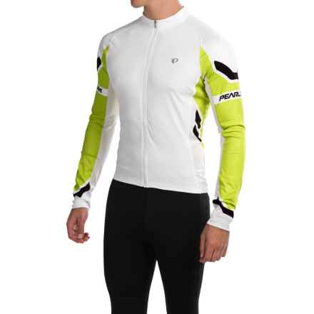 Pearl Izumi ELITE Cycling Jersey - Full Zip, Long Sleeve (For Men) in White/Lime Punch - Closeouts