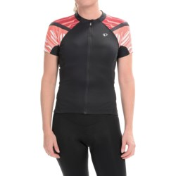 Pearl Izumi ELITE Cycling Jersey - Full Zip, Short Sleeve (For Women) in Black/Living Coral