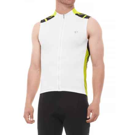 Pearl Izumi ELITE Cycling Jersey - Sleeveless (For Men) in White/Lime Punch - Closeouts