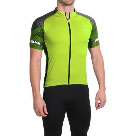 Pearl Izumi ELITE Cycling Jersey - UPF 50+, Full Zip, Short Sleeve (For Men) in Screaming Yellow/Green Flash