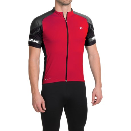 Pearl Izumi ELITE Cycling Jersey - UPF 50+, Full Zip, Short Sleeve (For Men) in True Red/Black