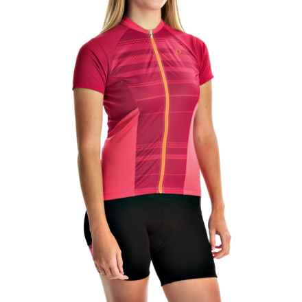 Pearl Izumi ELITE Escape Cycling Jersey - Full Zip, Short Sleeve (For Women) in Cerise Stripe - Closeouts