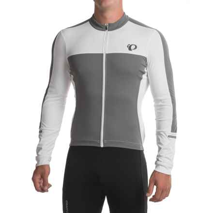 Pearl Izumi ELITE Escape Jersey - UPF 50+, Full Zip, Long Sleeve (For Men) in White / Smoked Pearl - Closeouts