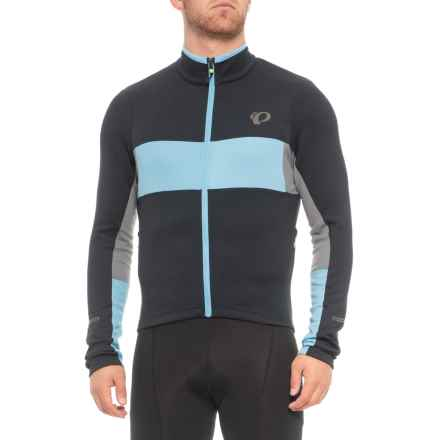 Pearl Izumi ELITE Escape Thermal Cycling Jersey - Full Zip, Long Sleeve (For Men) in Black / Blue Mist - Closeouts