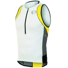 Pearl Izumi ELITE In-R-Cool® Tri Singlet - Zip Neck (For Men) in White/Blazing Yellow - Closeouts