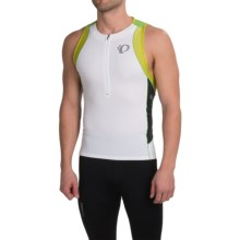 Pearl Izumi ELITE In-R-Cool® Tri Singlet - Zip Neck (For Men) in White/Green Flash - Closeouts