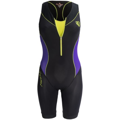 Pearl Izumi Elite In-R-Cool® Tri Suit - Built-In Chamois, Sports Bra Included (For Women) in Black Pinstripe