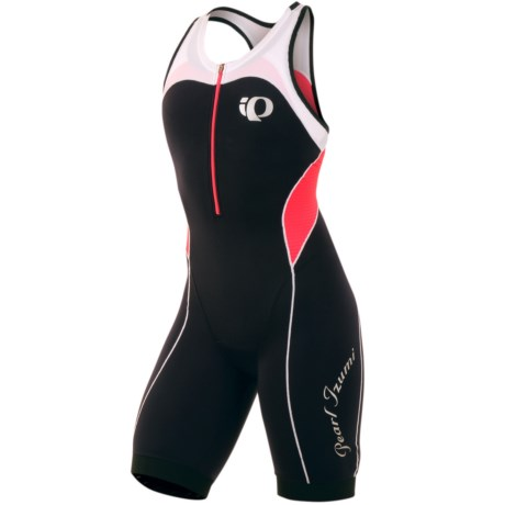 Pearl Izumi Elite In-R-Cool® Tri Suit - Built-In Chamois, Sports Bra Included (For Women) in Black/Paradise Pink