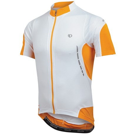 Pearl Izumi Elite Jersey - UPF 50+, Full Zip, Short Sleeve (For Men) in White/Safety Orange