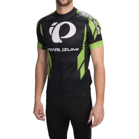 Pearl Izumi ELITE LTD Cycling Jersey - Full Zip, Short Sleeve (For Men) in Elite Black/Green Flash