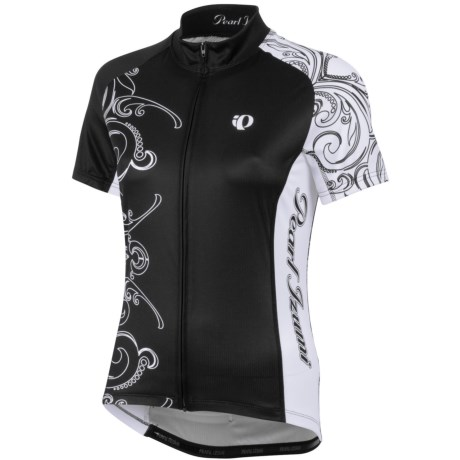 Pearl Izumi Elite LTD Cycling Jersey - UPF 40+, Full Zip, Short Sleeve (For Women) in Black Scroll