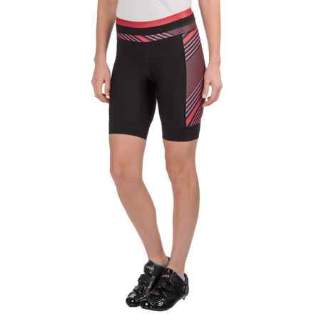 Pearl Izumi ELITE Pursuit Bike Shorts (For Women) in Black/Crimson Stripe - Closeouts