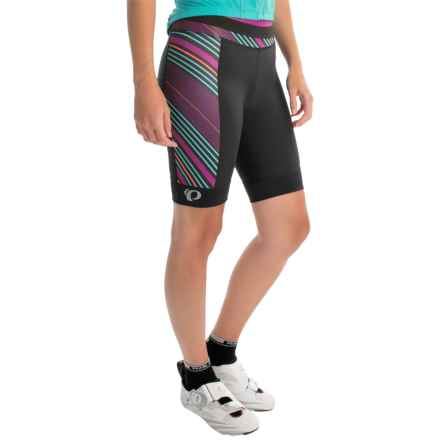 Pearl Izumi ELITE Pursuit Bike Shorts (For Women) in Black/Purple Wine Stripe - Closeouts