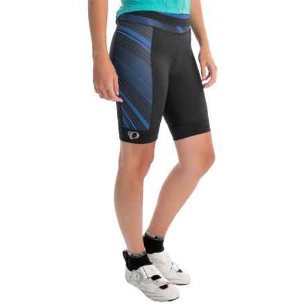 Pearl Izumi ELITE Pursuit Bike Shorts (For Women) in Black/Sky Blue Stripe - Closeouts