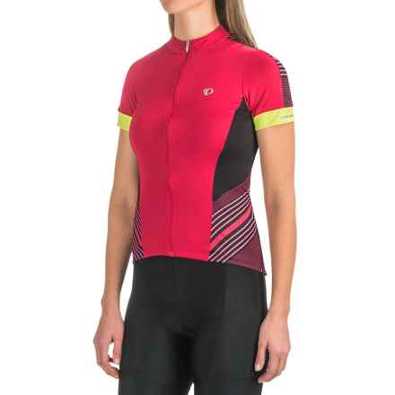 Pearl Izumi ELITE Pursuit Cycling Jersey - UPF 50+, Short Sleeve (For Women) in Black/Crimson Stripe - Closeouts