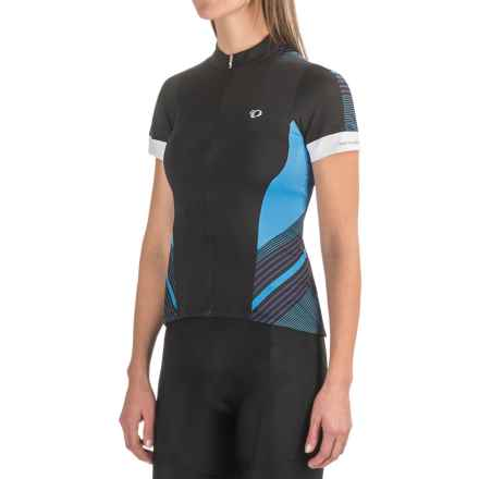 Pearl Izumi ELITE Pursuit Cycling Jersey - UPF 50+, Short Sleeve (For Women) in Black/Sky Blue Stripe - Closeouts