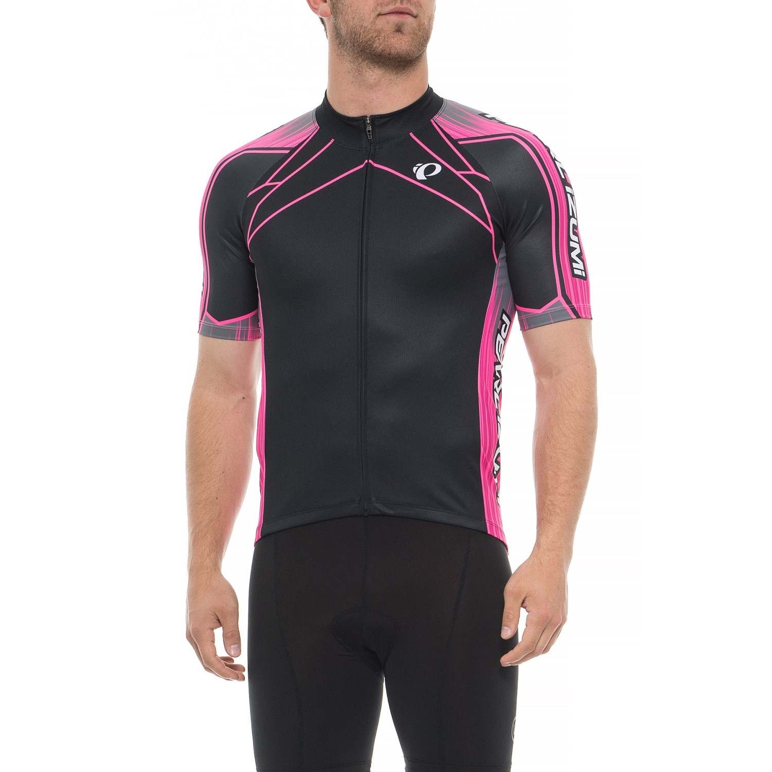 dc6404f86 Pearl izumi elite pursuit cycling jersey full zip short sleeve for men in  vaporize screaming pink