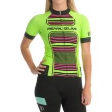 Pearl Izumi ELITE Pursuit LTD Cycling Jersey - Full Zip, Short Sleeve (For Women) in Screaming Green Stripe - Closeouts