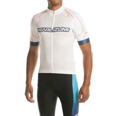 Pearl Izumi ELITE Pursuit Summer Cycling Jersey - Short Sleeve (For Men) in White / Bel Air Blue Rush - Closeouts