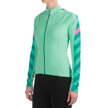 Pearl Izumi ELITE Pursuit Thermal Cycling Jersey - Long Sleeve (For Women) in Aqua Mint Stripe - Closeouts