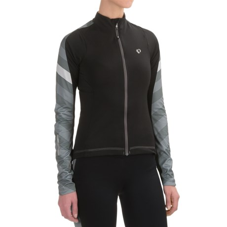 Pearl Izumi ELITE Pursuit Thermal Cycling Jersey - Long Sleeve (For Women) in Black Stripe