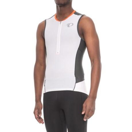 Pearl Izumi ELITE Pursuit Triathlon Jersey - Zip Neck, Sleeveless (For Men) in White/Shadow Grey