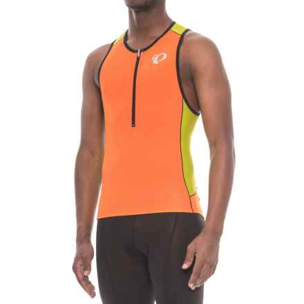 Pearl Izumi ELITE Pursuit Triathlon Singlet - Zip Neck, Sleeveless (For Men) in Red Orange/Lime Punch - Closeouts