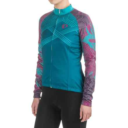Pearl Izumi ELITE Thermal LTD Cycling Jersey - Full Zip, Long Sleeve (For Women) in Floral Moroccan Blue - Closeouts