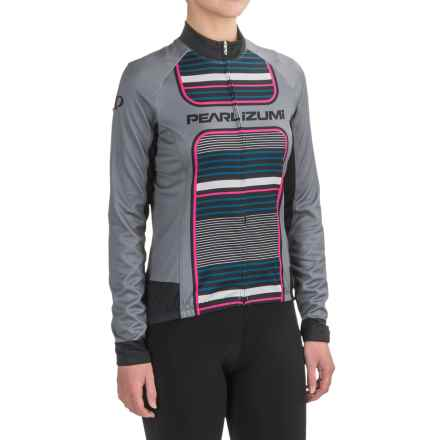 Pearl Izumi ELITE Thermal LTD Cycling Jersey - Full Zip, Long Sleeve (For Women) in Pink Glo Stripe - Closeouts