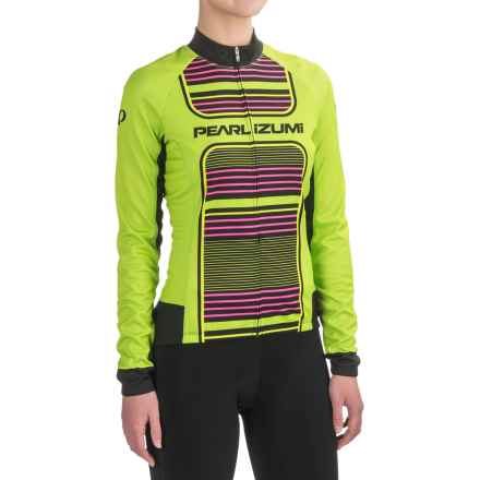 Pearl Izumi ELITE Thermal LTD Cycling Jersey - Full Zip, Long Sleeve (For Women) in Screaming Green Stripe - Closeouts