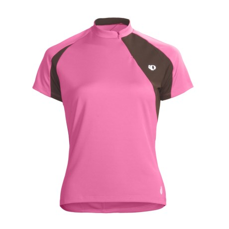 Pearl Izumi Impact Cycling Jersey - UPF 40+, Short Sleeve (For Women) in Rosebloom/Coffee