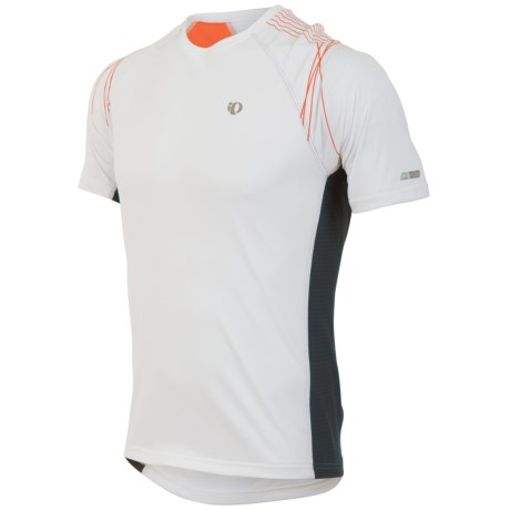 Pearl Izumi Infinity In-R-Cool® Shirt - Short Sleeve (For Men) in White/Cherry Tomato