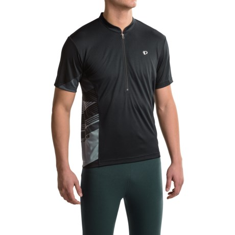 Pearl Izumi Journey Cycling Jersey - Zip Neck, Short Sleeve (For Men) in Black/Monument Grey