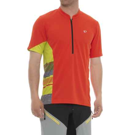 Pearl Izumi Journey Cycling Jersey - Zip Neck, Short Sleeve (For Men) in Orange.Com / Citron - Closeouts