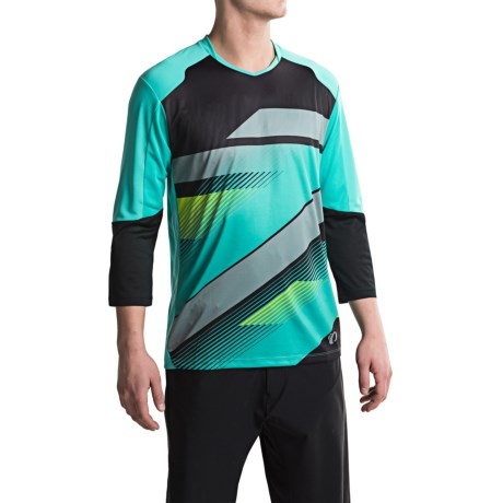 Pearl Izumi Launch Cycling Jersey - 3/4 Sleeve (For Men) in Black/Viridian Green