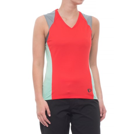 Pearl Izumi Launch Mesh Cycling Jersey - Sleeveless (For Women) in Poppy Red / Mist Green