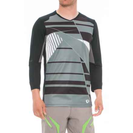 Pearl Izumi Launch Mountain Bike Jersey - V-Neck, 3/4 Sleeve (For Men) in Black/Smoked Pearl - Closeouts