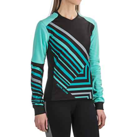 Pearl Izumi Launch Thermal Cycling Jersey - Long Sleeve (For Women) in Black/Aqua Mint - Closeouts