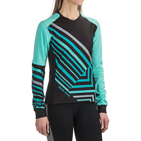 Pearl Izumi Launch Thermal Cycling Jersey - Long Sleeve (For Women) in Black/Aqua Mint