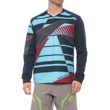 Pearl Izumi Launch Thermal Mountain Bike Jersey - Long Sleeve (For Men) in Blue Mist / Eclipse Blue