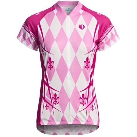 Pearl Izumi Limited Edition Cycling Jersey - Three-Quarter Zip, Short Sleeve (For Women) in Stripe Sea Foam Blue