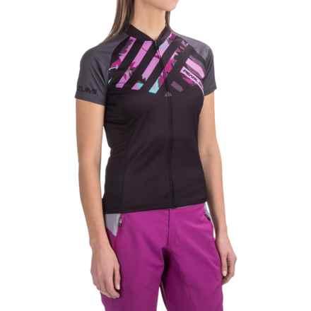 Pearl Izumi LTD Mountain Bike Jersey - Full Zip, Short Sleeve (For Women) in Stripe Shadow Grey - Closeouts