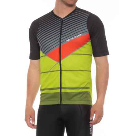 Pearl Izumi MTB LTD Cycling Jersey - Full Zip, Short Sleeve (For Men) in Black/Citron Stripe - Closeouts