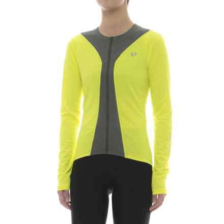 Pearl Izumi Podium Cycling Jersey - Full Zip, Long Sleeve (For Women) in Screaming Yellow/Smoked Pearl - Closeouts