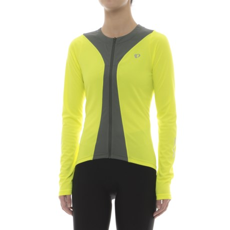 Pearl Izumi Podium Cycling Jersey - Full Zip, Long Sleeve (For Women) in Screaming Yellow/Smoked Pearl
