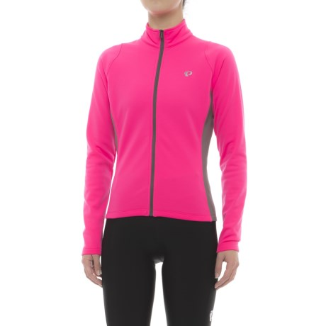 Pearl Izumi Podium Thermal Cycling Jersey - Full Zip, Long Sleeve (For Women) in Screaming Pink/Smoked Pearl