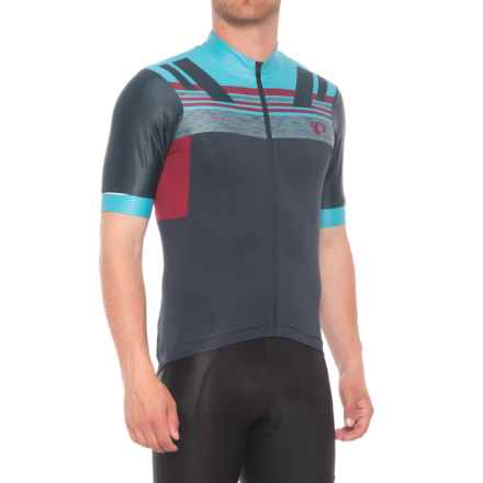 Pearl Izumi P.R.O. Escape Jersey - UPF 40+, Full Zip, Short Sleeve (For Men) in Eclipse Blue / Tibetan Red - Closeouts